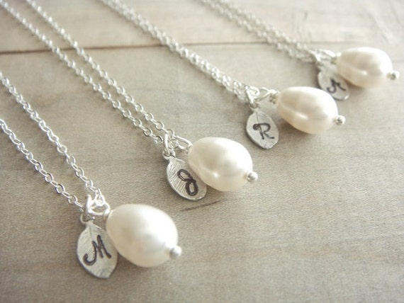 Bridesmaid Gift - 4 Cream or White Pearl Hand Stamped Initial Necklaces in Sterling Silver - choose your pearl color