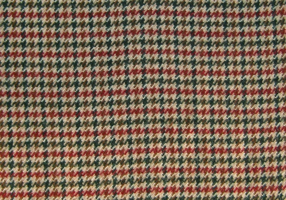 1906  - Felted 100 Percent Woven Wool - Houndstooth Check -Tan,Burgandy, and Green