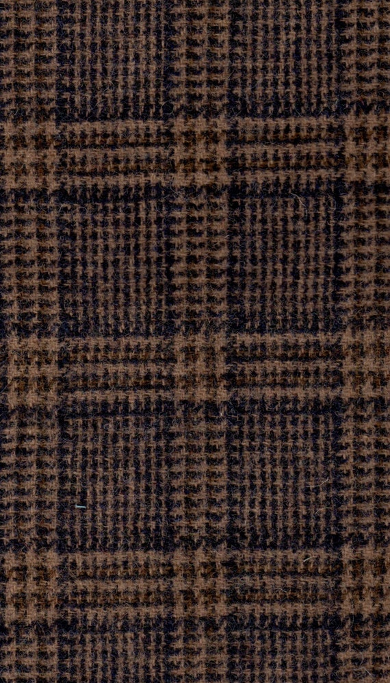 3479 - Felted 100 Percent  Woven Wool - Plaid - Navy and Tan - Large Size Wool