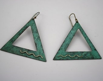 Vintage Green Patina Triangle Earrings