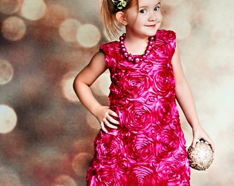 Floral Essence, holiday dress in hot pink