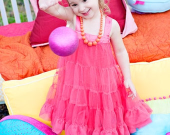 Ruffles and Twirls - petti dress in FRENCH ROSE
