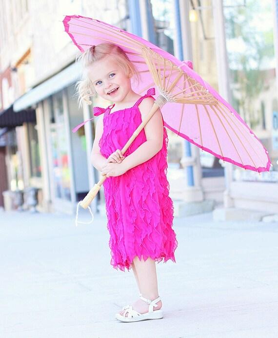 Hot Pink Waterfall ruffles dress
