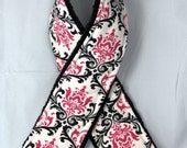 CANON Nikon DSLR SALE Camera Strap Cover .. Signature Line .. Pink Black and White Damask with Black Minky Back