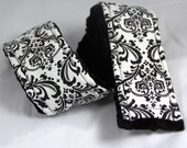Camera Strap Cover ... Signature Line ..  Simply Classic Black and White Damask Black Minky