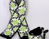 Camera Strap Cover and matching Wrist Strap Set ..  Citrus Lime and Black Damask