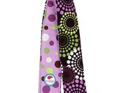 Camera Strap Cover Reversible Purple Green Rounds with Purple Polka Dots