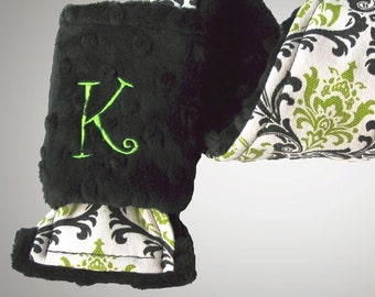 Personalized Camera Strap Cover Set in Bright Lime Black Damask with Dual Lens Cap