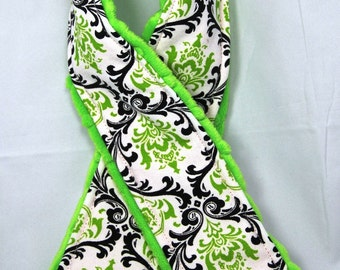 Camera Strap Cover ... Signature Line ..  So Summer Citrus Lime Green and Black Damask Bright Lime Minky