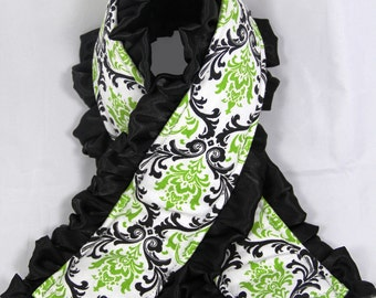 Ruffle Camera Strap Cover- Lime and Black Damask with Black Minky Dot