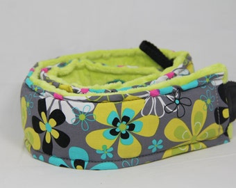 SALE Camera Strap DSLR Quick Release Long Hipster Far Out Floral with Minky Back