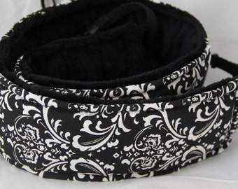 Camera Strap Neoprene Quick Release Long Hipster White and Black Damask with Black Minky Back