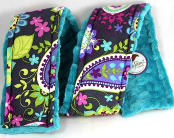 Camera Strap Cover Gray Fun Paisley with Teal Minky