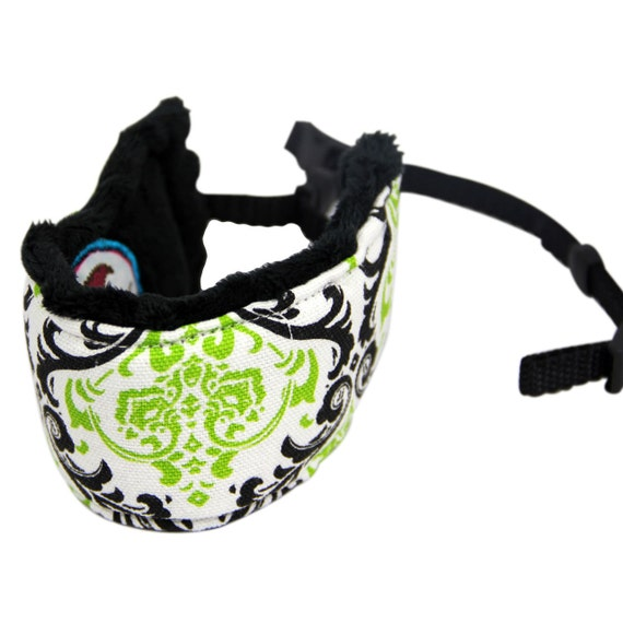 Camera Wrist Strap Quick Release Signature Line Black and Lime with Black Minky