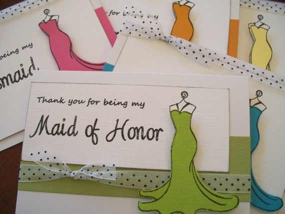 8 Thank you for being my Bridesmaid Card Custom Unique Bright Colors