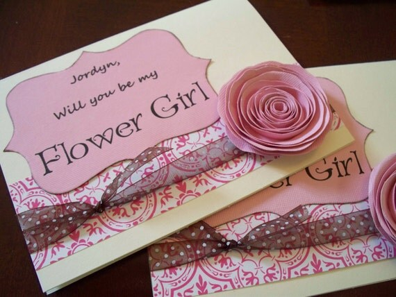 Will You Be My Flower Girl Wedding Card - Pink Damask You Pick The color