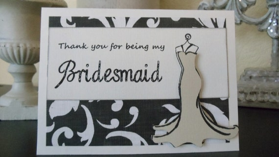 THANK YOU for being my Bridesmaid Cards -- 8  black ivory Damask Vintage Style Wedding Party