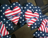 Heart Fabric Wreath Stuffed Red White Blue Patriotic