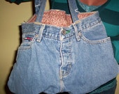 Jean Purse  Bag, Repurposed, Tommy Hilfiger, Blues