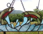 STAINED GLASS Rainbow Trout FISH Lake Sport Water Splash