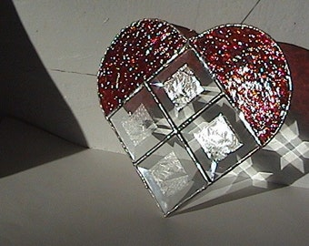 HEART Stained Glass Red Beveled Irridescent