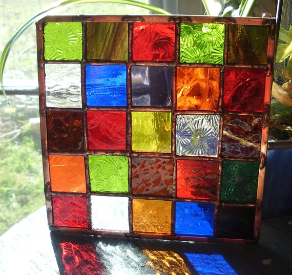 Stained glass quilt block panel patchwork postage stamp for Window pane quilt design