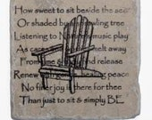 Adirondack Beach Chair on Relaxing Quote Background natural stone coasters - set of 4
