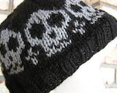Black with Gray Skulls Knitted Beanie Skull Cap