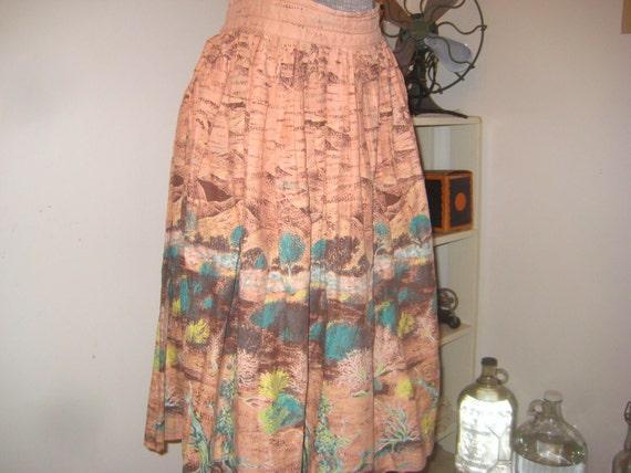 Desert Cactus Flower 1940s Desert Print skirt Amazing
