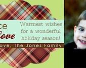 Peace, love, joy plaid- printable, digital photo holiday card design