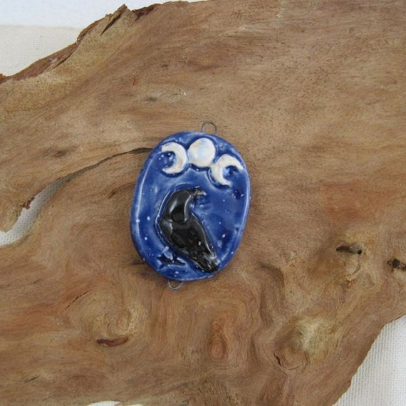 Raven corvid triple crescent sculptural ceramic pendant by JDaviesReazor