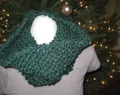 Pine Green Tight Knit Infinity Scarf Cowl