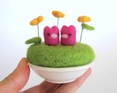 Tiny bunny flower garden