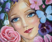 Spring Four Seasons Series 6 x 6 Art Print Flowers, Beautiful Woman, Portrait