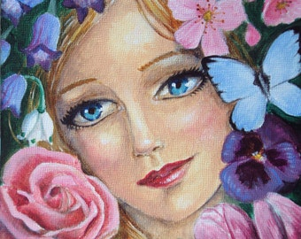 Spring Four Seasons Series 6 x 6 Art Print Flowers, Beautiful Woman, Portrait