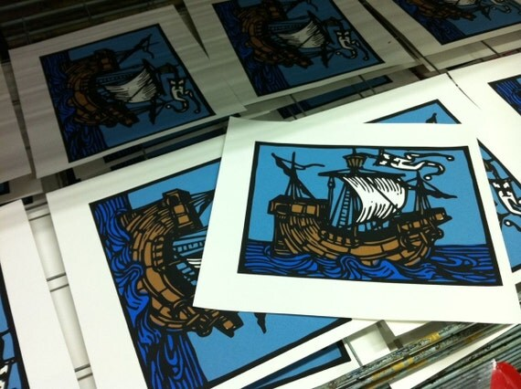 Sailing Ship Screen Print {On Reserve For Mark Lay}