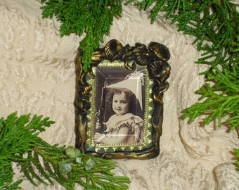 Girl  In Paper Hat With Toy Rifle - Miniature Framed Print Brooch