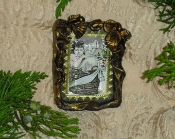 Girl and Cat in Basket - Victorian Image Brooch