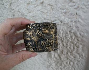 Divine Bovine 1 - Polymer Clay Cow Design on Brass Cuff