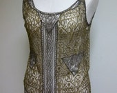 RESERVED FOR FIFI 1920s Lace Flapper Drop Waist Dress in Gold and Black