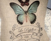 Large Le Papillon French Butterfly Burlap Pillow Cover
