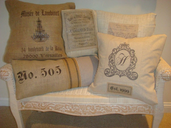 You Choose Any 3 French Shabby Chic Jolie Marche Pillow Covers..burlap...linen...cotton