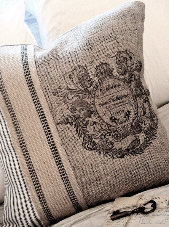 Items Similar To Burlap Pillow Cover With French Ticking