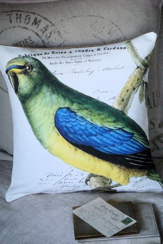 Cotton and Burlap Pillow Cover...the Parrot