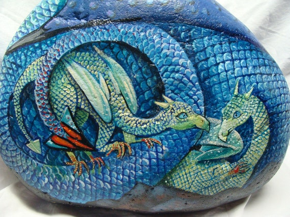 ON HOLD for Shardi - Blue Dragon Family, Original and Unique, Hand Painted Rock,Fine Art, Extra Large stone-