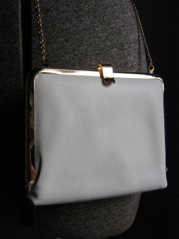 Vintage White Square Clutch Crossbody Bag - 1980s
