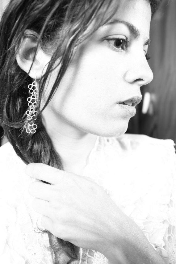 Flowers Drop. Long Delicate Sterling Silver Chandelier Dangle Lace Drop Earrings. Handmade Silver Earrings. Inspired by Nature.