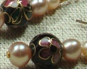 Cloisonne and Freshwater Pearls Dangle Earrings by Finnashe on Etsy