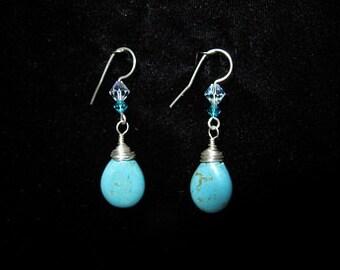 E1209  Tuquoise Teardrop Earrings