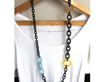 Multicolour Plastic Chain Link Long Statement Necklace no.12